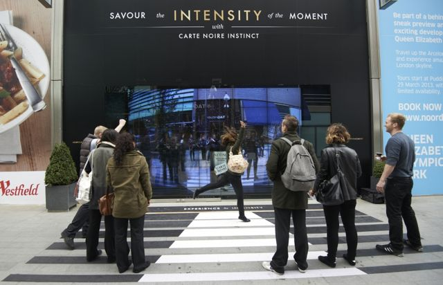 Carte Noire interactive window installation at Westfield Stratford