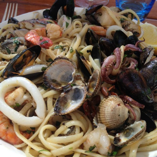 Linguine a la fruits de mer at Moorea Plage. The best you'll ever try