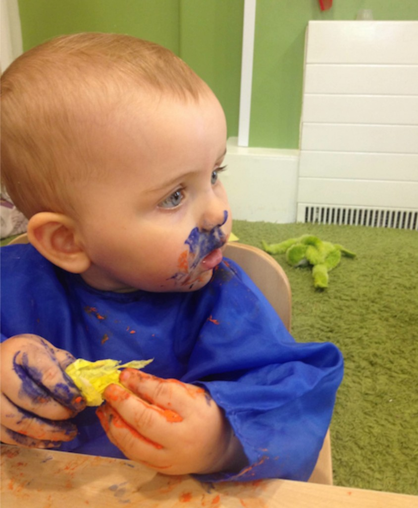 Eating paint on the first day of nursery. Off to a good start then