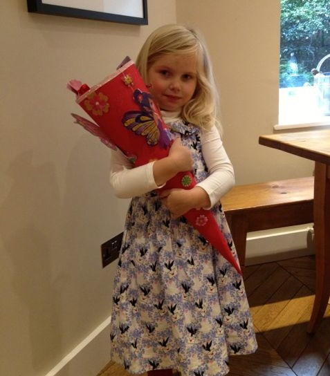 Lil L' with her Schultüte filled with toys and sweets